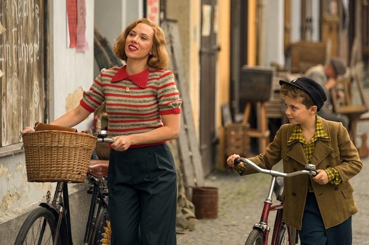 Scarlett Johansson and Roman Griffin Davis in the film JOJO RABBIT